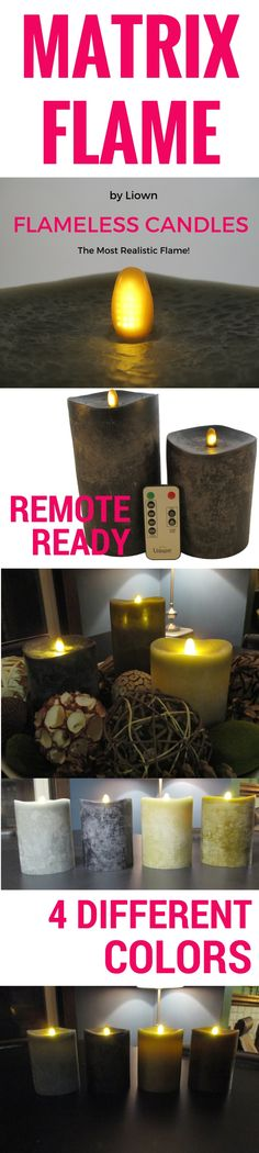 Matrix Flame candles provide the most realistic looking flameless candle on the market today. What's the secret? Tiny LEDs dance and flicker across the flame piece of the candle, providing a glowing, flickering effect without a moving flame piece. Set comes with remote control to adjust the flame movement. Flames can be viewed from 360 degrees, and provide a safe yet stunning ambiance. The candle of choice for centerpieces, offering a beautiful, high end look.