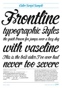 Love a good script font. This one is Cider Script font from Suomi Type Foundry.