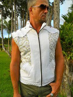 Small  White and Gold Shipibo Printed Avatar Vest  by Onanya, $135.00