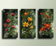 Items similar to 3 panels Canvas Print of Floral Acrylic Painting Wall Decor Wall Hanging on Etsy Still Life Art, Contemporary Paintings, Oil Painting On Canvas, Printable Wall Art, Creative Art, Amazing Art, Canvas Prints, Artwork, Oil Paintings