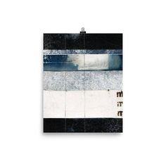 Art Print BLUE LINES collage art  #collage #art #collageart #stripes #lines