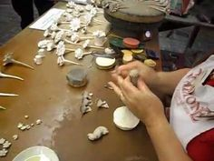 Gladstone Pottery Museum 2013 - Rita Floyd making flowers in clay 01 - YouTube