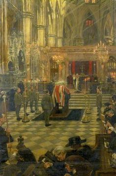 The Funeral Service of Edith Cavell at Westminster Abbey, 15 May 1919 William Hatherell IWM (Imperial War Museums) Edith Cavell, Art Nouveau, Norwich Cathedral, Wellcome Collection, British Soldier, Westminster Abbey, London Art, Art Uk, Old Master
