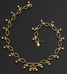 Estate Jewelry:Necklaces, Gold & Pearl Necklace. ... Image #1