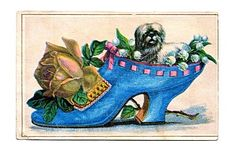 Victorian Ladies Shoe with Pup, Roses and Lily-of-the-Valley Postcard ~ The Graphics Fairy