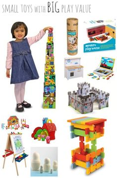 Small Toys with BIG Play Value -- toys that are cleverly designed to stack, nest, or fold for easy storage. Perfect for small spaces while inspiring lots of imaginative play!