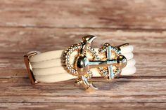 white leather anchor bracelet by Onlybygracejewelry on Etsy, $4.00