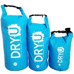 Blue waterproof dry bags - All sizes, 5 litre, 10 litre 20 litre. High performance. Water, sand, dirt and snow resistant. #waterproof #boats #camping #kayak #bag