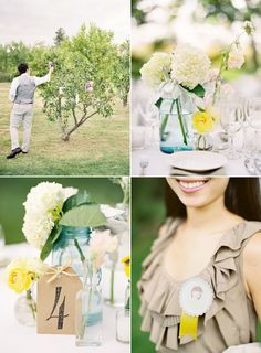 """Mason jars, and pins (with drawings by the bride & groom) that say: """"I know the bride.""""/""""I know the groom."""""""