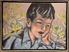 "DAVID BROMLEY ""The Thinker"" Original Acrylic on Canvas, Signed 46cm x 61cm"