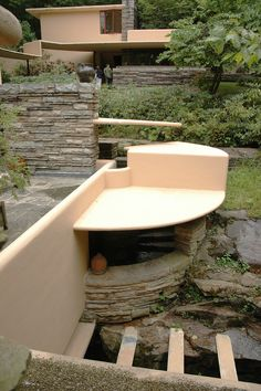 Fallingwater: Part of the cantilevered concrete canopy over the walkway to the guest house