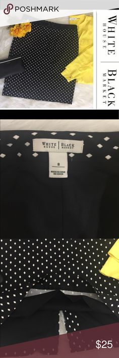 ☀️White House Black Market Pencil Skirt☀️Sz 8 Beautiful with a tailored look, this White House Black Market Pencil Skirt is simply beautiful! It is a size 8 with diamond shapes scattered across the fabric. Very flattering cut! Bow tie at the waist and a hidden smooth gliding side zipper. So adorable! Waist measures 16 inches, hips 20 inches and length 22 1/2. Should hit at the knee. The Calvin Klein blouse is for sell in another listing. Fast shipper!💃🏼💃🏼 Thanks for shopping my closet…