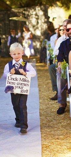 """this for ring bearer, """"here comes the bride"""" sign for flower girls Wedding Wishes, Wedding Bells, Wedding Events, Our Wedding, Dream Wedding, Weddings, Wedding Stuff, Wedding Signs, Wedding Reception"""
