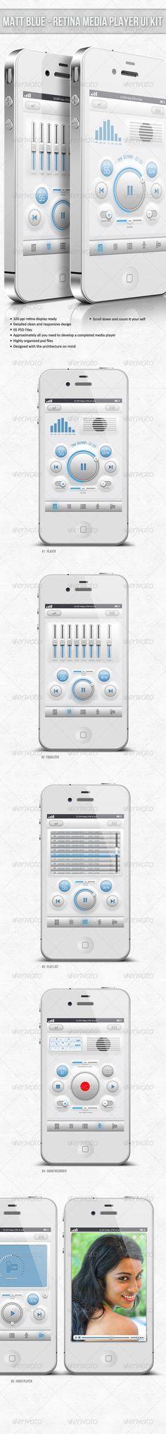Matt Blue - Retina Audio Player UI