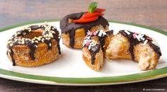 Vegan Cronut Recipe with Banana and Chocolate Vegan Baking Recipes, Gourmet Recipes, Dessert Recipes, Healthy Recipes, Healthy Food, Vegan Sweets, Vegan Desserts, Vegan Food, Sugar Cravings