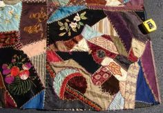 ID-ed-1885-Piedmont-SC-Carolina-Crazy-Quilt-Top-Great-Embroidery-amp-Stitching