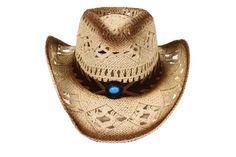 a9556bd6d77 New Western Country Style Cowboy Straw Hat Leather Band Turquoise Jewel  AMC