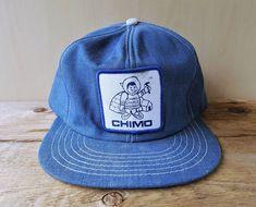 Vintage 1980s CHIMO CHARLIE Denim Snapback Hat Building Center Jean Cap  BaseballCap  Denim Hat cdca37665cb1