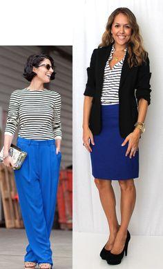 cobalt blue skirt, black/white striped button down blouse, black blazer/cardigan, black shoes