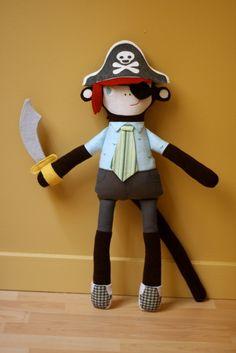 Mikey Monkey, made for my nephew's first birthday. Shown with pirate accessories.  #mikeymonkey #mmmcrafts #ragamuffinbaby