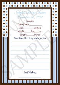 Blue and Brown Dots and Stripes  Baby Shower by CreatinVitations, $9.99