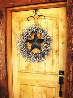Rustic BARN STAR Wreath-LARGE Wreath-Creamy Vanilla Berry Wreath-Texas Star-Western Decor-Scented Cinnamon Vanilla-Choose your Scent
