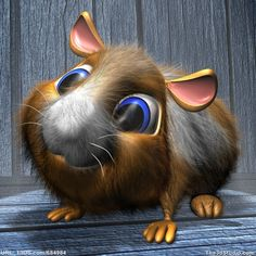 Cartoon pet hamster or guinea pig - Royalty free 3D computer model available at The3dStudio.com, the oldest and largest 2D and 3D resource site on the internet. Fast and personal customer service from our own support staff 7 days a week—no autoreply or canned responses.