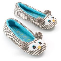 SO® Owl Ballerina Slippers ($9.99) ❤ liked on Polyvore featuring shoes, slippers, sleep, owl and pajamas