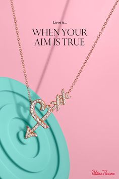 Paloma's Graffiti heart & arrow pendant in 18k rose gold with diamonds.