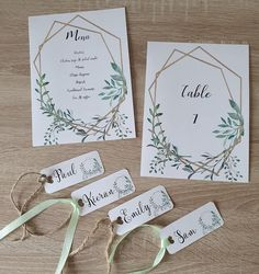 Gold geometric shapes and foliage wedding stationery! Matching menu, table number and name tags! Wedding Name Tags, Wedding Menu Cards, Pocket Wedding Invitations, Wedding Signage, Wedding Table Numbers, Wedding Stationary, Wedding Tables, Wedding Planner, Restaurant Wedding