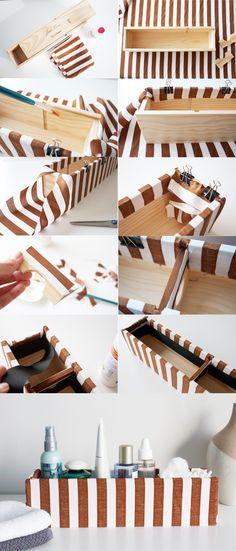 DIY: custom fabric box  fabric, glue, binder clips, ribbon, and of course, scissors