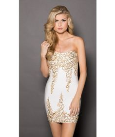 Roxanni Nikki Bandage Dress IN White With Gold by Holt Find More : http://www.imaddictedtoyou.com/