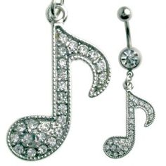 Multi Jewel Musical Note Dangle Belly Ring Surgical Steel