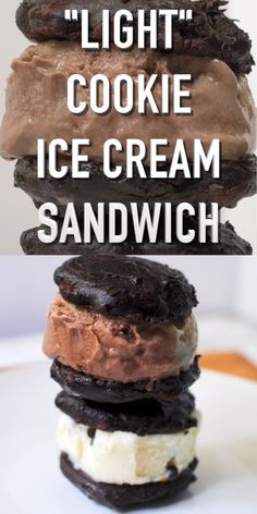 Gluten free, high protein, lower caloriebut all the flavor! this healthy ice cream cookie sandwich is almost too good to be true! Ice Cream Cookie Sandwich, Ice Cream Cookies, Oreo Ice Cream, Healthy Snacks For Diabetics, Healthy Desserts, Gourmet Recipes, Dessert Recipes, Gluten Free Chocolate Cookies, Sandwiches