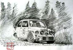 FIAT ABARTH 1000TC Fiat 600, Vintage Posters, Vintage Art, Fiat Abarth, Car Illustration, Car Posters, Car Sketch, Car Drawings, Automotive Art