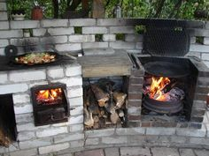 "summer Kitchen ""I'm so bored! Simple Outdoor Kitchen, Outdoor Oven, Outdoor Kitchen Design, Rustic Outdoor, Outdoor Fire, Outdoor Cooking, Outdoor Living, Garden Fountains For Sale, Fire Pit Chimney"