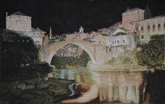 Old Bridge of Mostar.(Mostar, Bosnia and Herzegovina) aquarelle, 53×34, Fabriano 300gr, Original 600 Euro, Exclusive high end imprint on aquarelle paper – 100 Euro, www.sandorszikszai.com Mostar Bosnia, Bosnia And Herzegovina, Bridges, Euro, Paper, Life