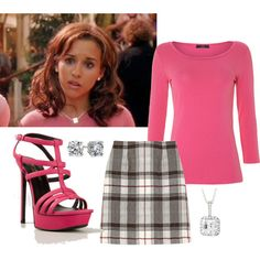 Mean Girls Outfit #4~ Gretchen Weiners by skeetergirl98 on Polyvore featuring Weekend Max Mara, Black Fleece, Yves Saint Laurent, Icz Stonez and Blue Nile