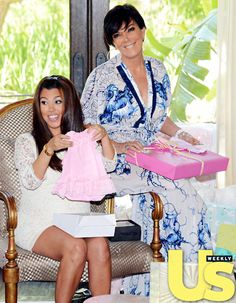 Kourtney Kardashian shows the cute Mudpie dress she received as a gift for her babyshower