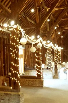 wedding fairy lights at the great barn in ruislip barn wedding lighting