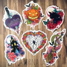 Excited to share this item from my shop: Halloween vinyl sticker pack, laptop stickers, art st Flash Art Tattoos, Body Art Tattoos, Ship Tattoos, Movie Tattoos, Arabic Tattoos, Dragon Tattoos, Sleeve Tattoos, Tatoos, Halloween Vinyl