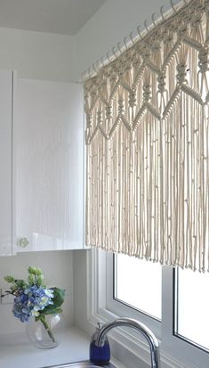 Kitchen Macrame Curtains Bohemian Short curtain by KnotSquared More diy Interior design Macrame kitchen curtain custom short macrame wall hanging Hollywood regency Curtains rustic valance Bohemian boho chic eclectic decor Rustic Valances, Rustic Curtains, Modern Curtains, Bohemian Curtains, Diy Curtains, Eclectic Curtains, Purple Curtains, French Curtains, Vintage Curtains