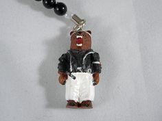 Old Japanese Bad boys Style Brown bear Strap (White) Hokkaido Japan