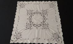 Linen Supper Cloth With Embroidery and Cutwork