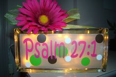 Glass block light with scripture verse. $22.00, via Etsy.