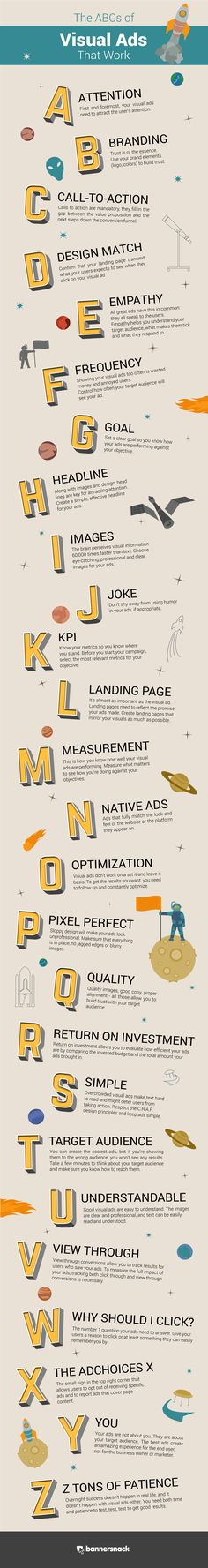 Great infographic  using the ABCs to describe traits to consider for your Visual marketing.  Click on pin and read moreThe ABCs of Visual Ads That Work [Infographic] | Social Media Today