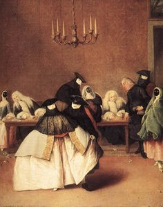 #CARNIVAL_VENICE Pietro_Longhi - Il Ridotto.  17th Century Carnival dress - note tricorn hat, white mask , black cape or veil, and cloak over 'normal' 17th century clothes. (2)