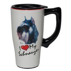 Schnauzer I Heart Ceramic Travel Mug