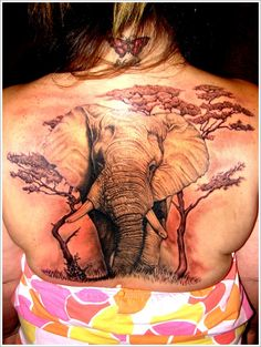 Awesome Elephant Tattoo Designs: Nature Elephant Tattoo Designs For Girl On Back ~ Tattoo Design Inspiration