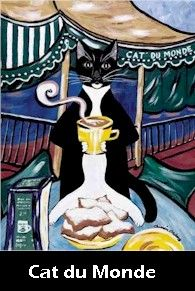The Creole Cat Minou enjoying a Cafe Au Lait and Beignets. A New Orleans tradition. Mmmmm